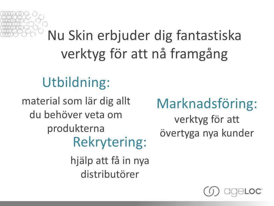 Nu Skin erbjuder dig fantastiska verktyg för att nå framgång Marknadsföring: verktyg för att övertyga nya kunder Rekrytering: hjälp att få in nya distributörer Utbildning: material som lär dig allt du behöver veta om produkterna
