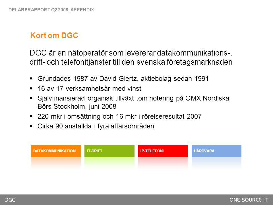 DGC är en nätoperatör som levererar datakommunikations-, drift- och telefonitjänster till den svenska företagsmarknaden  Grundades 1987 av David Giertz, aktiebolag sedan 1991  16 av 17 verksamhetsår med vinst  Självfinansierad organisk tillväxt tom notering på OMX Nordiska Börs Stockholm, juni 2008  220 mkr i omsättning och 16 mkr i rörelseresultat 2007  Cirka 90 anställda i fyra affärsområden DATAKOMMUNIKATIONIT-DRIFTIP-TELEFONIHÅRDVARA DELÅRSRAPPORT Q2 2008, APPENDIX Kort om DGC