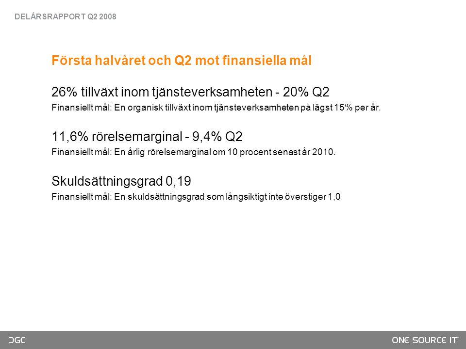 Första halvåret och Q2 mot finansiella mål 26% tillväxt inom tjänsteverksamheten - 20% Q2 Finansiellt mål: En organisk tillväxt inom tjänsteverksamheten på lägst 15% per år.