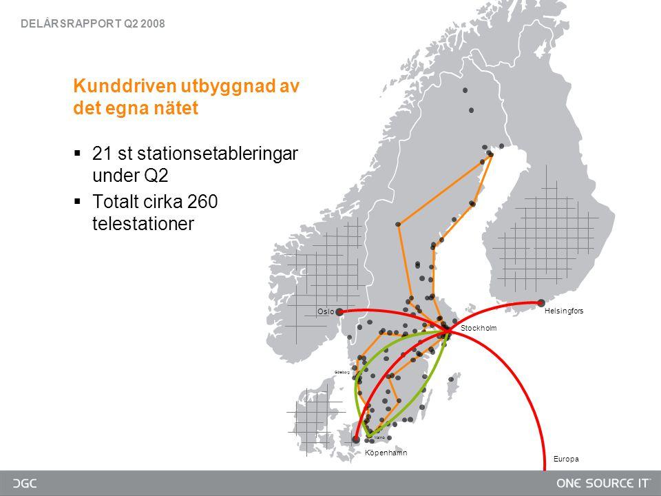 Oslo Köpenhamn Göteborg Malmö Europa Stockholm Helsingfors Kunddriven utbyggnad av det egna nätet  21 st stationsetableringar under Q2  Totalt cirka 260 telestationer DELÅRSRAPPORT Q2 2008
