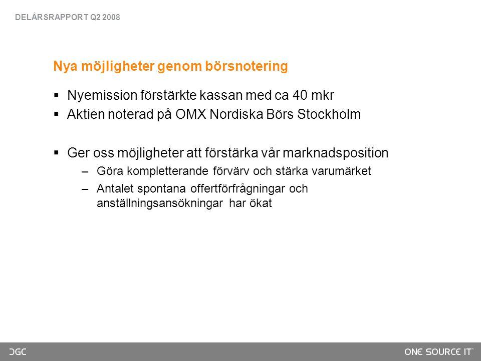 Nya möjligheter genom börsnotering  Nyemission förstärkte kassan med ca 40 mkr  Aktien noterad på OMX Nordiska Börs Stockholm  Ger oss möjligheter att förstärka vår marknadsposition –Göra kompletterande förvärv och stärka varumärket –Antalet spontana offertförfrågningar och anställningsansökningar har ökat DELÅRSRAPPORT Q2 2008