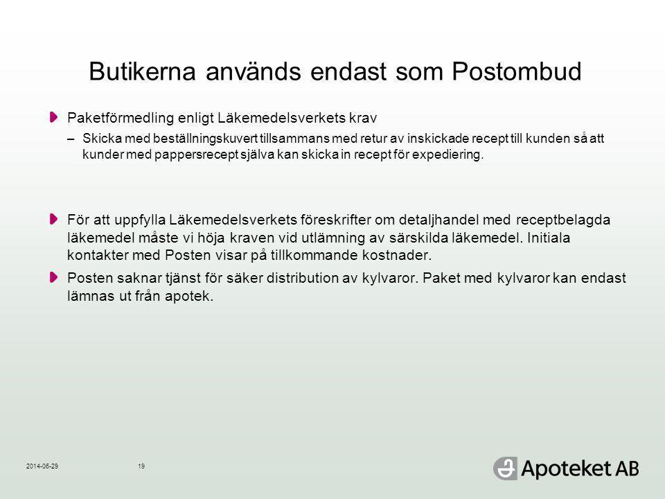 Butikerna används endast som Postombud Paketförmedling enligt Läkemedelsverkets krav –Skicka med beställningskuvert tillsammans med retur av inskickad