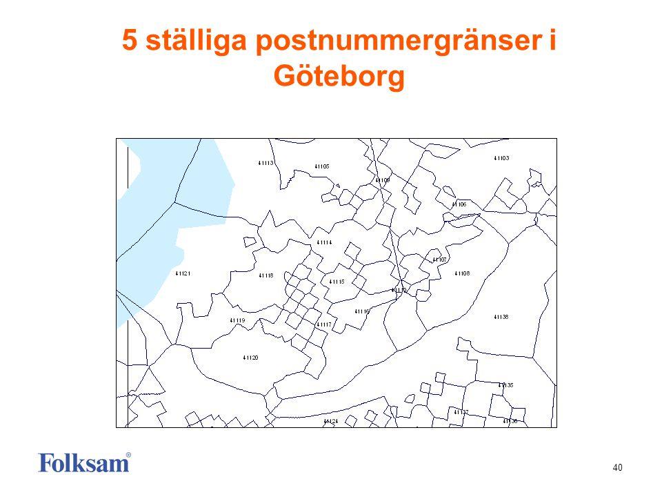 40 5 ställiga postnummergränser i Göteborg