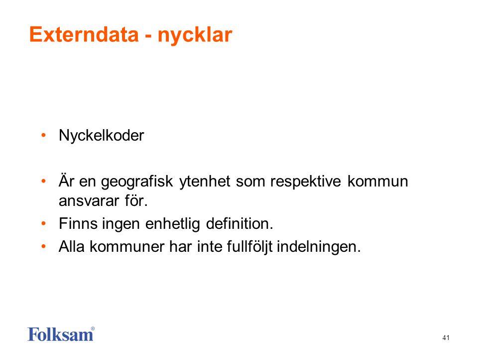 41 Externdata - nycklar •Nyckelkoder •Är en geografisk ytenhet som respektive kommun ansvarar för. •Finns ingen enhetlig definition. •Alla kommuner ha
