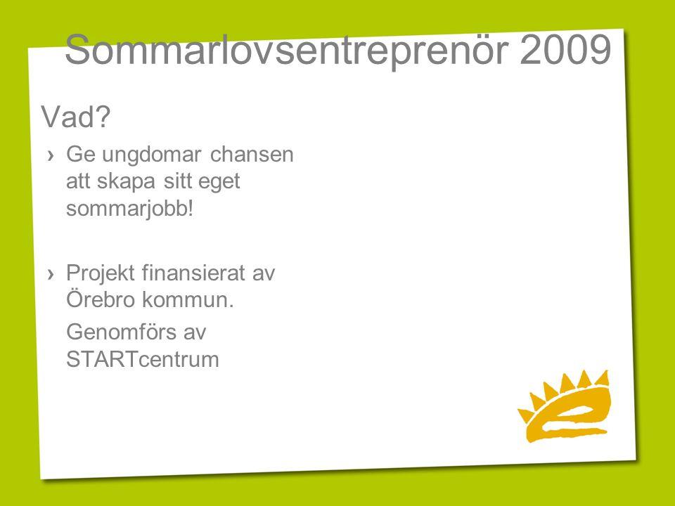 Sommarlovsentreprenör 2009 Vad? › Ge ungdomar chansen att skapa sitt eget sommarjobb! › Projekt finansierat av Örebro kommun. Genomförs av STARTcentru