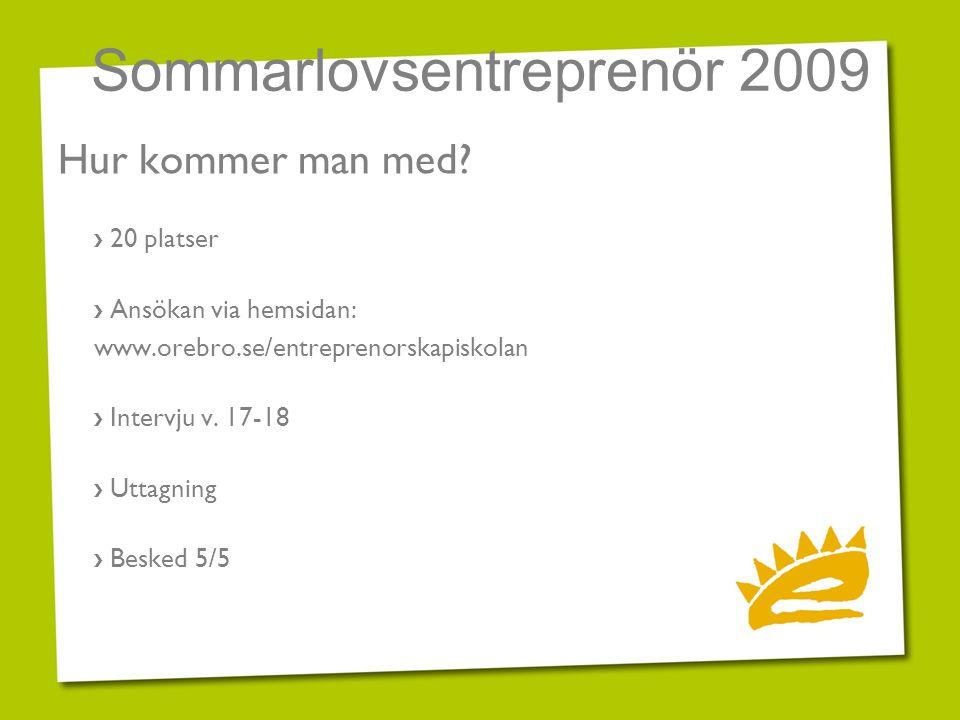 Sommarlovsentreprenör 2009 Hur kommer man med? › 20 platser › Ansökan via hemsidan: www.orebro.se/entreprenorskapiskolan › Intervju v. 17-18 › Uttagni