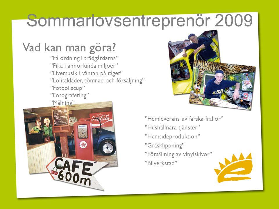 """Sommarlovsentreprenör 2009 """"Hemleverans av färska frallor"""" """"Hushållnära tjänster"""" """"Hemsideproduktion"""" """"Gräsklippning"""" """"Försäljning av vinylskivor"""" """"Bi"""
