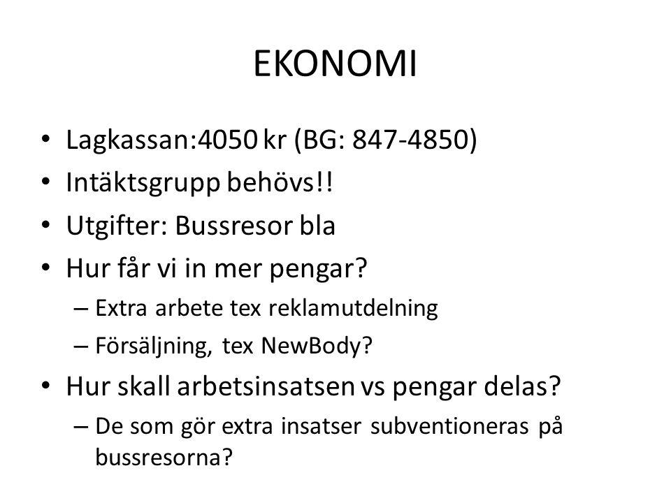 EKONOMI • Lagkassan:4050 kr (BG: 847-4850) • Intäktsgrupp behövs!! • Utgifter: Bussresor bla • Hur får vi in mer pengar? – Extra arbete tex reklamutde