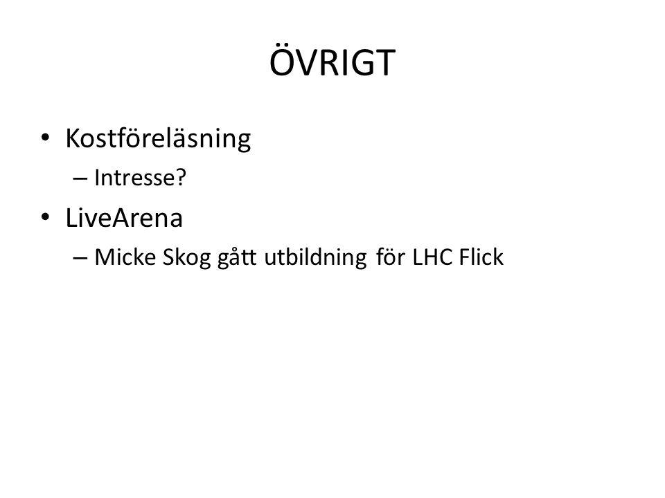 ÖVRIGT • Kostföreläsning – Intresse? • LiveArena – Micke Skog gått utbildning för LHC Flick