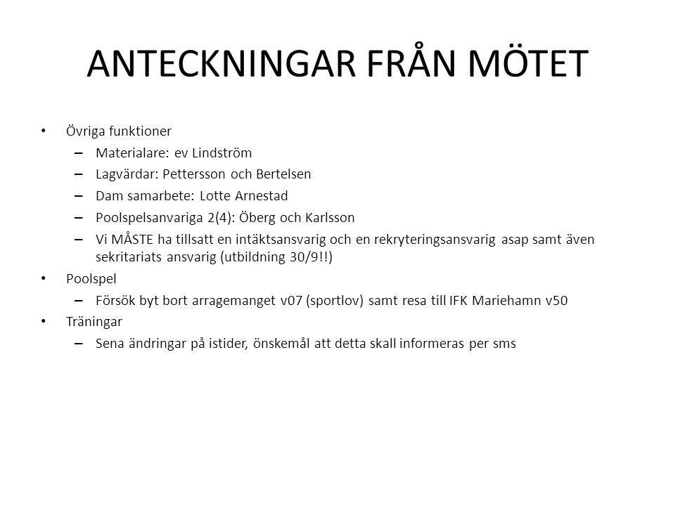ANTECKNINGAR FRÅN MÖTET • Övriga funktioner – Materialare: ev Lindström – Lagvärdar: Pettersson och Bertelsen – Dam samarbete: Lotte Arnestad – Poolsp