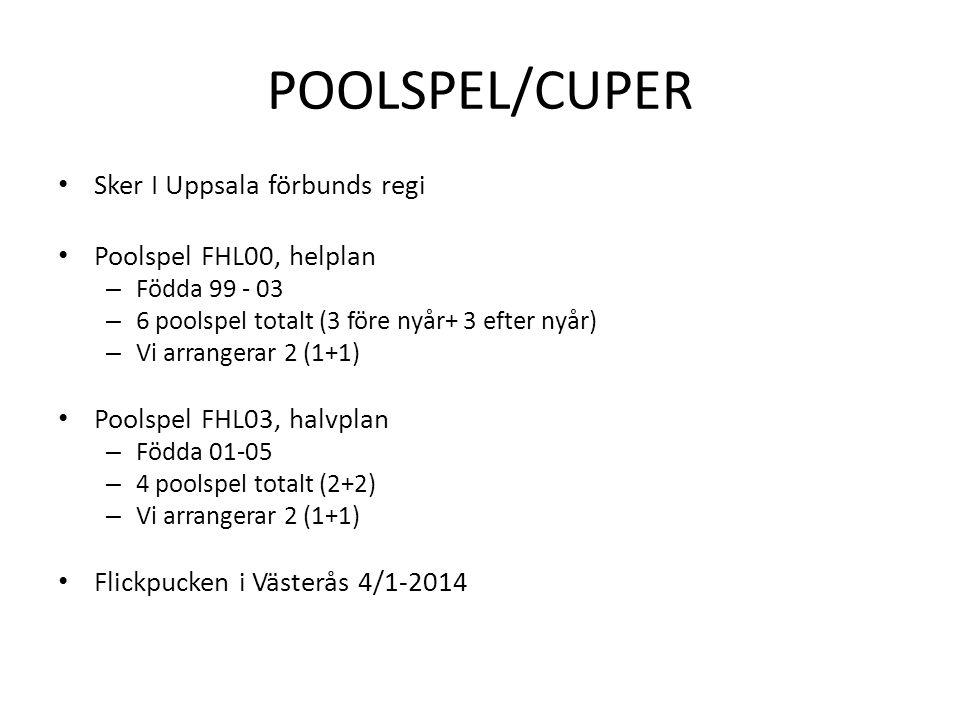 POOLSPEL/CUPER • Sker I Uppsala förbunds regi • Poolspel FHL00, helplan – Födda 99 - 03 – 6 poolspel totalt (3 före nyår+ 3 efter nyår) – Vi arrangera