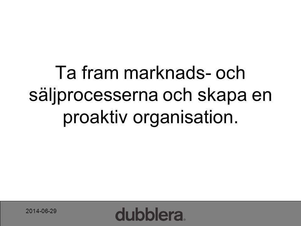 2014-06-29 Ta fram marknads- och säljprocesserna och skapa en proaktiv organisation.