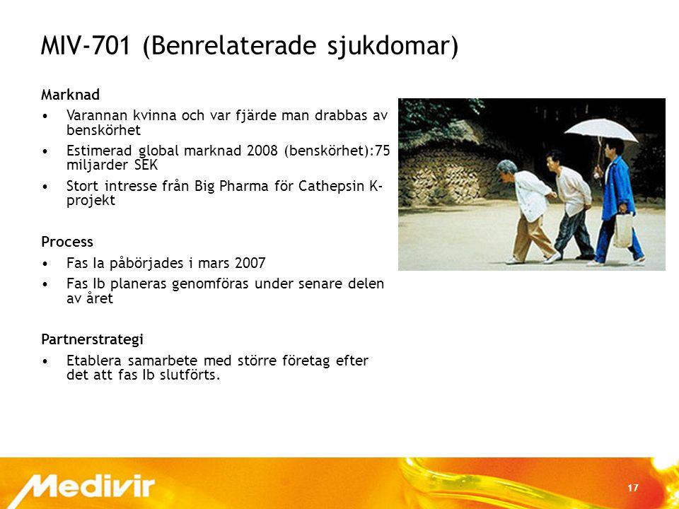 17 MIV-701 (Benrelaterade sjukdomar) Marknad •Varannan kvinna och var fjärde man drabbas av benskörhet •Estimerad global marknad 2008 (benskörhet):75