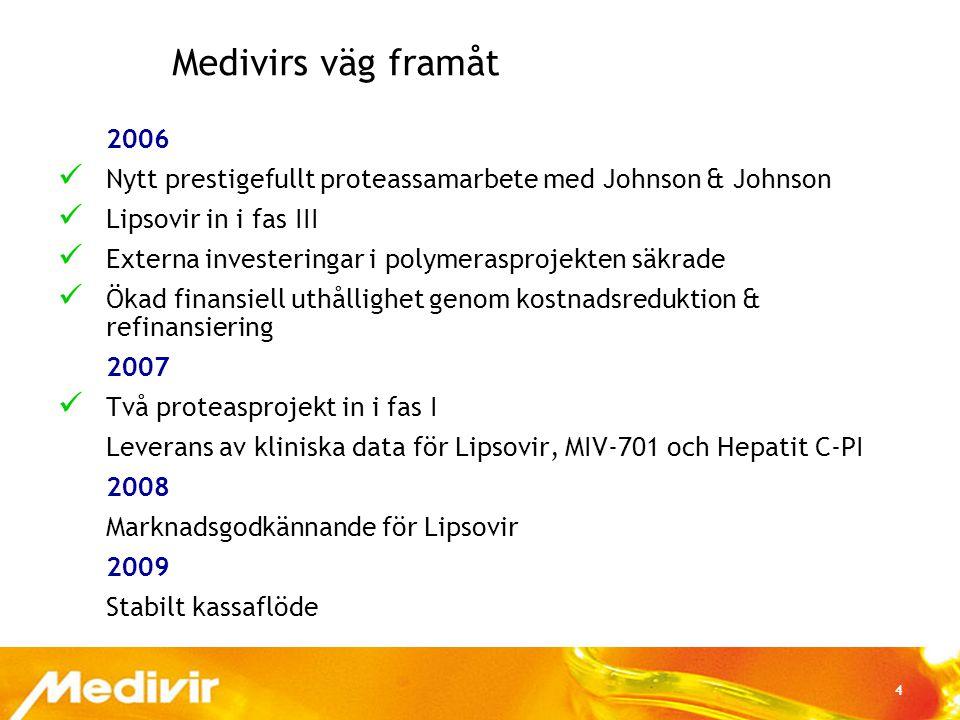 4 Medivirs väg framåt 2006  Nytt prestigefullt proteassamarbete med Johnson & Johnson  Lipsovir in i fas III  Externa investeringar i polymerasproj