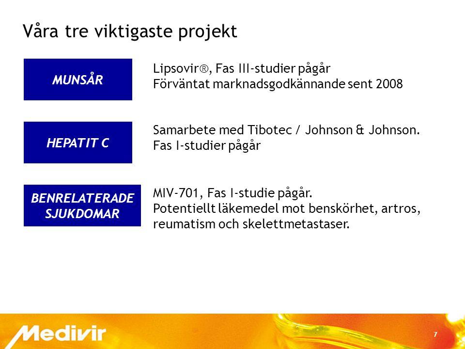 7 BENRELATERADE SJUKDOMAR HEPATIT C MUNSÅR Våra tre viktigaste projekt Lipsovir®, Fas III-studier pågår Förväntat marknadsgodkännande sent 2008 Samarb