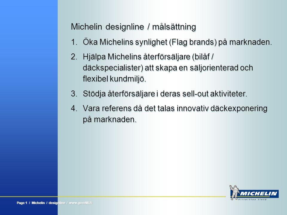 Michelin designline Page 11 / Michelin / designline / www.goodwill.fi Däckvagn, låg  Passar även till lägre utrymmen  För exponering och försäljning av däckserier  Försedd med hjul  Rymms även i mindre utrymmen  Tydlig ovandel för pris  Enkel att flytta  Snygg även som fönsterdekor  För exponering och försäljning av däckserier  Försedd med hjul  Rymms även i mindre utrymmen  Tydlig ovandel för pris  Enkel att flytta  Snygg även som fönsterdekor