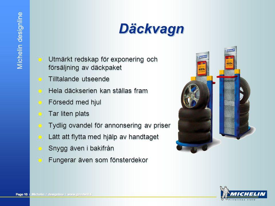Michelin designline Page 9 / Michelin / designline / www.goodwill.fi Lagerhylla för däck  Tydlig lösning för förvaring av däck  Dimensionering enlig