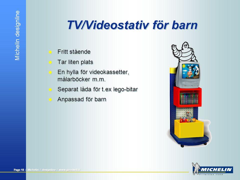 Michelin designline Page 17 / Michelin / designline / www.goodwill.fi TV / videostativ  Stativ för PlasmaTV  Fritt stående  Tar liten plats  En hylla för förvaring av videokassetter m.m.