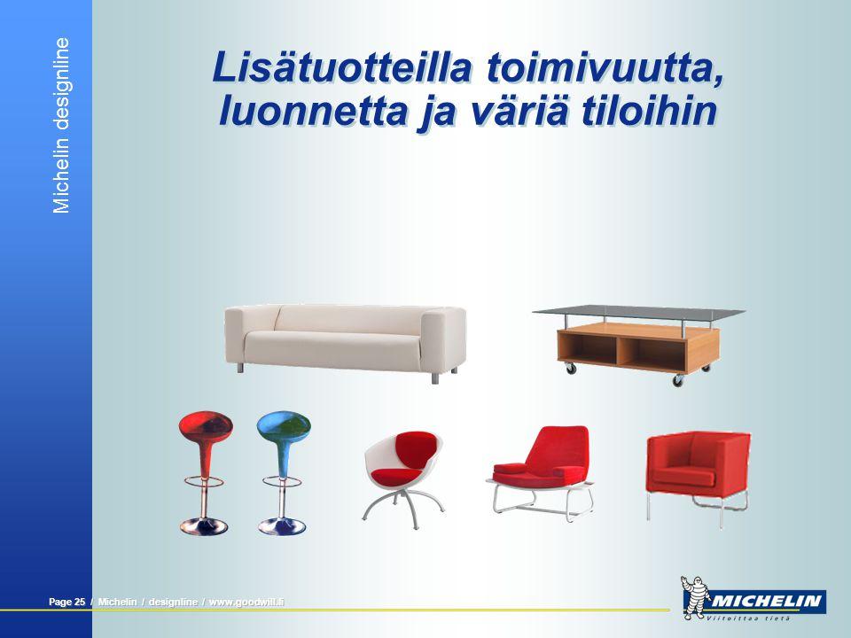 Michelin designline Page 24 / Michelin / designline / www.goodwill.fi Rullgardiner  Enkla att använda  Skapar ett enhetligt utseende utåt  Enkla at