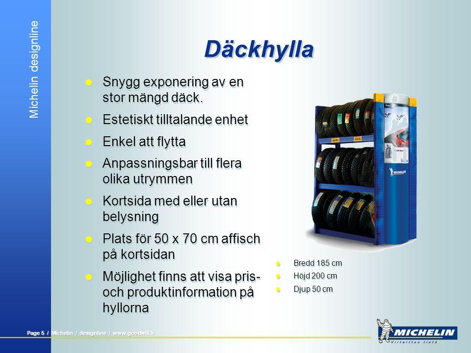 Michelin designline Page 5 / Michelin / designline / www.goodwill.fi Däckhylla  Snygg exponering av en stor mängd däck.