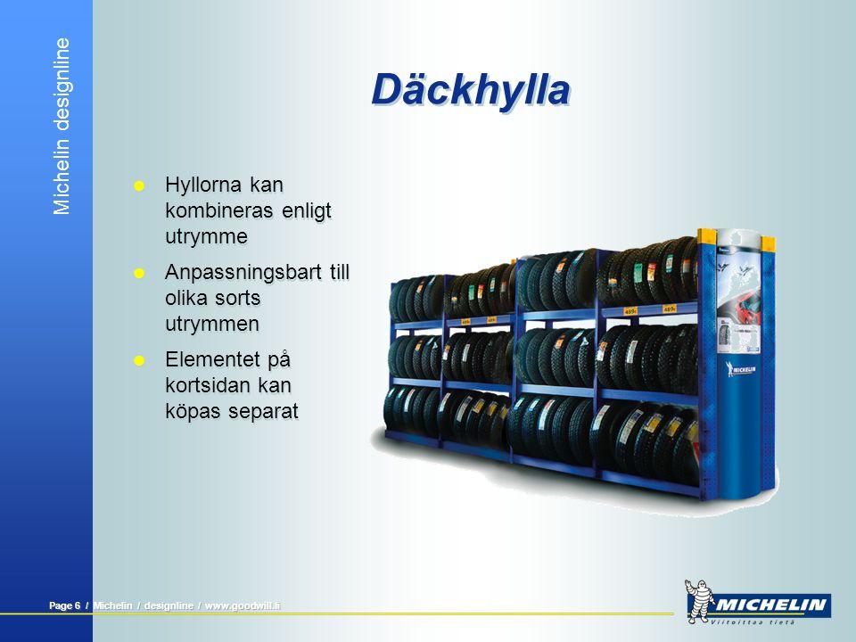 Michelin designline Page 5 / Michelin / designline / www.goodwill.fi Däckhylla  Snygg exponering av en stor mängd däck.  Estetiskt tilltalande enhet