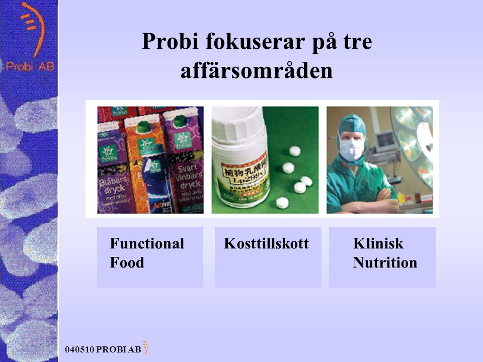 040510 PROBI AB Probi fokuserar på tre affärsområden Functional Food KosttillskottKlinisk Nutrition
