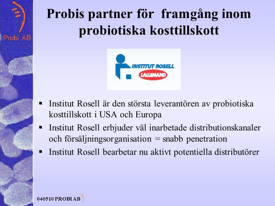 040510 PROBI AB Probis partner för framgång inom probiotiska kosttillskott  Institut Rosell är den största leverantören av probiotiska kosttillskott i USA och Europa  Institut Rosell erbjuder väl inarbetade distributionskanaler och försäljningsorganisation = snabb penetration  Institut Rosell bearbetar nu aktivt potentiella distributörer