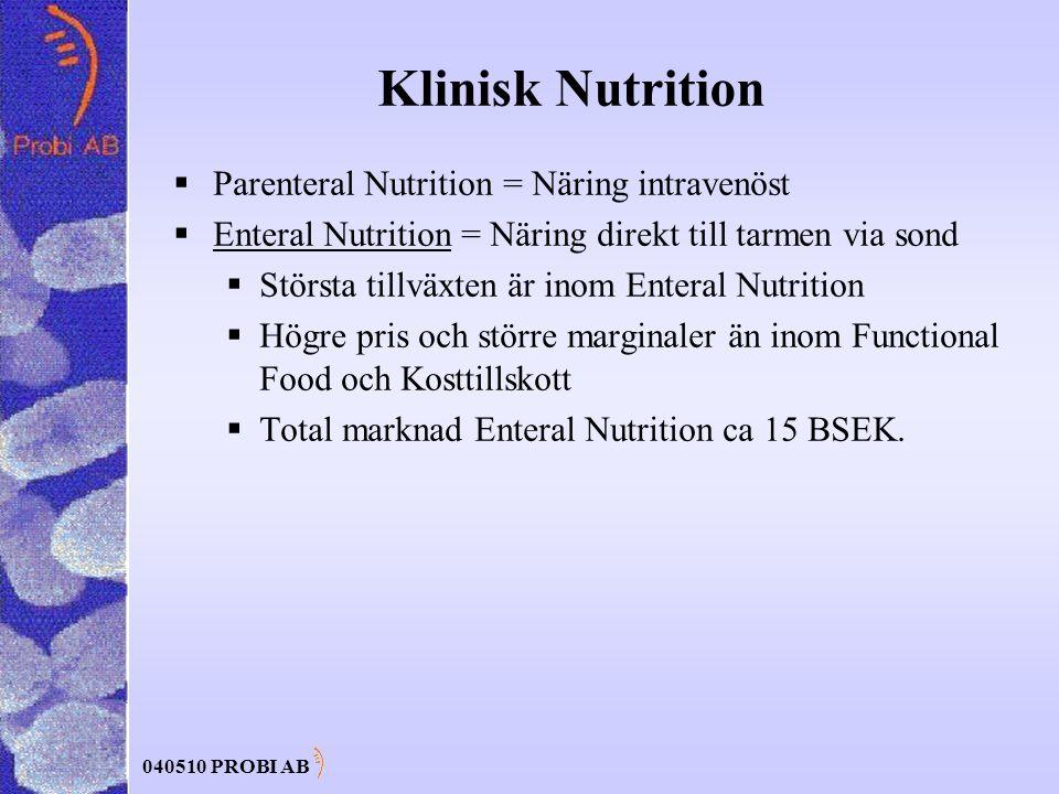 040510 PROBI AB Klinisk Nutrition  Parenteral Nutrition = Näring intravenöst  Enteral Nutrition = Näring direkt till tarmen via sond  Största tillväxten är inom Enteral Nutrition  Högre pris och större marginaler än inom Functional Food och Kosttillskott  Total marknad Enteral Nutrition ca 15 BSEK.