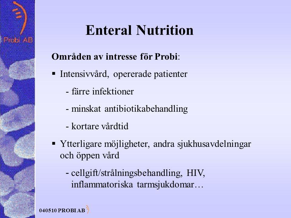040510 PROBI AB Enteral Nutrition Områden av intresse för Probi:  Intensivvård, opererade patienter - färre infektioner - minskat antibiotikabehandling - kortare vårdtid  Ytterligare möjligheter, andra sjukhusavdelningar och öppen vård - cellgift/strålningsbehandling, HIV, inflammatoriska tarmsjukdomar…