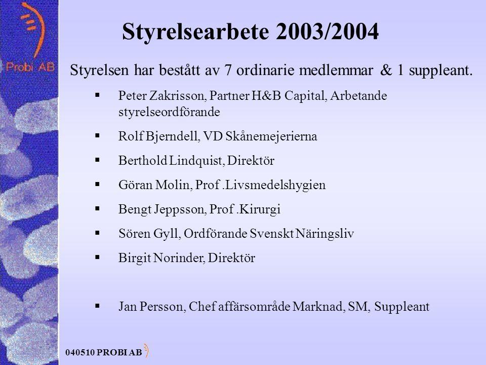 040510 PROBI AB Styrelsearbete 2003/2004 Styrelsen har bestått av 7 ordinarie medlemmar & 1 suppleant.