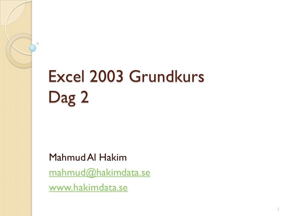 Excel 2003 Grundkurs Dag 2 Mahmud Al Hakim mahmud@hakimdata.se www.hakimdata.se 1
