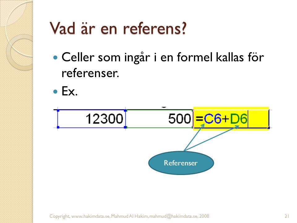 Vad är en referens.  Celler som ingår i en formel kallas för referenser.