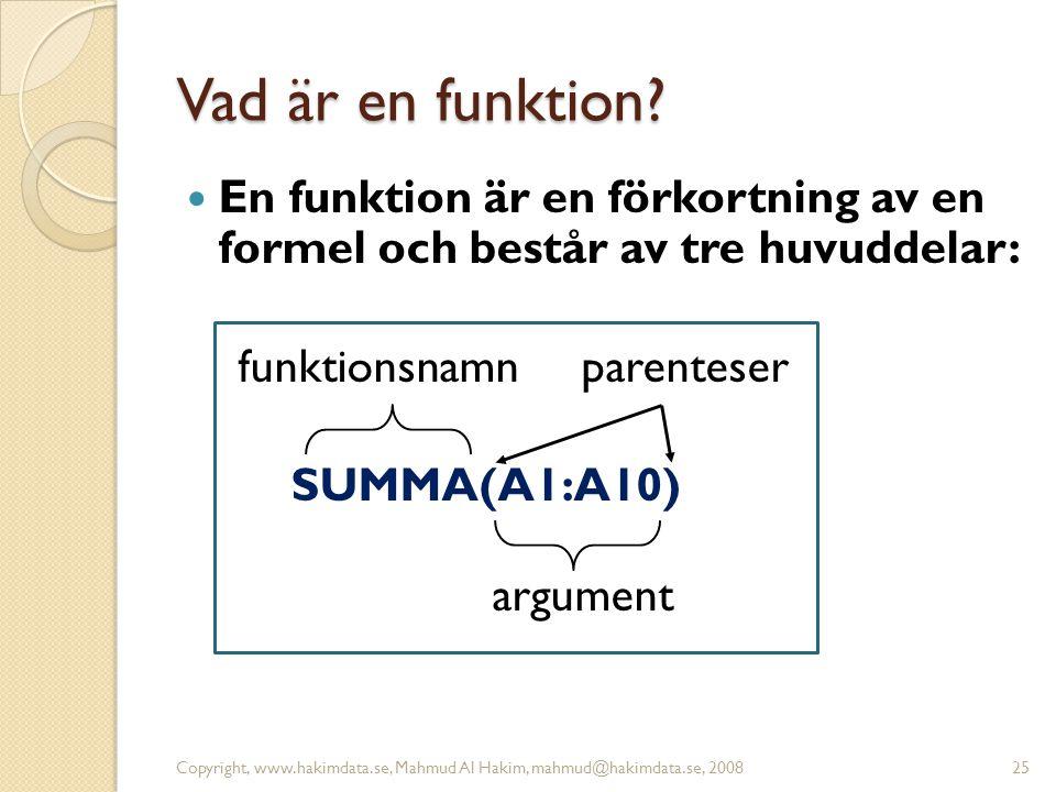 Vad är en funktion?  En funktion är en förkortning av en formel och består av tre huvuddelar: funktionsnamn parenteser SUMMA(A1:A10) argument Copyrig