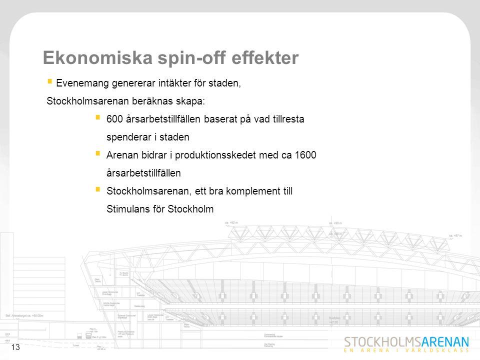 13 Ekonomiska spin-off effekter  Evenemang genererar intäkter för staden, Stockholmsarenan beräknas skapa:  600 årsarbetstillfällen baserat på vad t