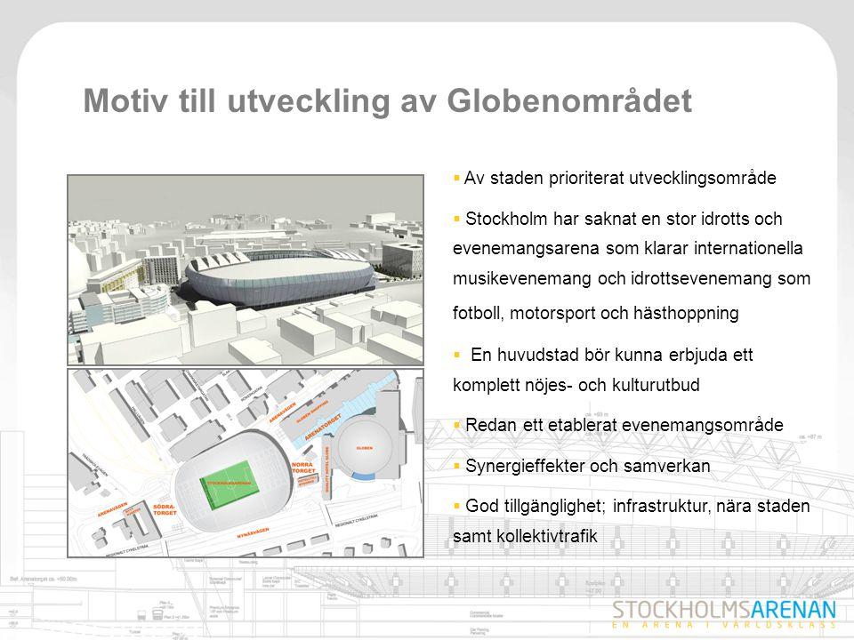 13 Ekonomiska spin-off effekter  Evenemang genererar intäkter för staden, Stockholmsarenan beräknas skapa:  600 årsarbetstillfällen baserat på vad tillresta spenderar i staden  Arenan bidrar i produktionsskedet med ca 1600 årsarbetstillfällen  Stockholmsarenan, ett bra komplement till Stimulans för Stockholm