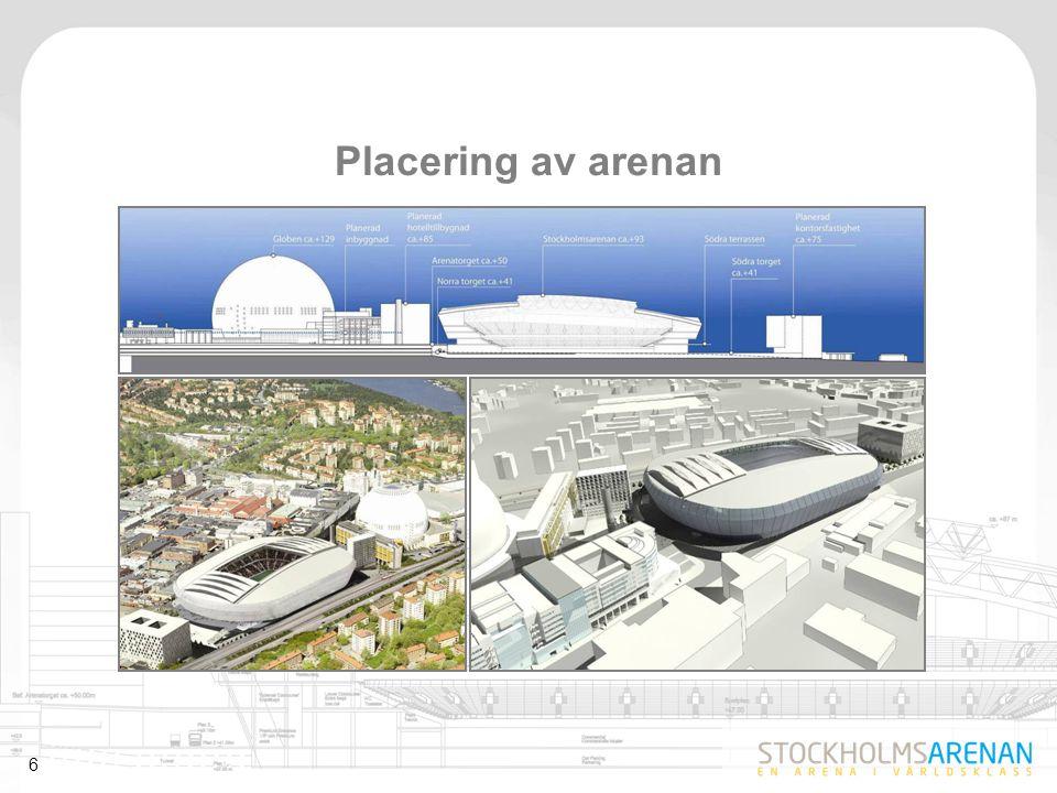 7  30 000 sittplatser, 40 000 vid konserter- storlek som möter ett identifierat behov  Flexibel och funktionell – mångfald av evenemang – korta omställningstider  T ex fotboll, annan idrott, konserter, häst- och motorsport  Skjutbart tak  Konstgräs av hög kvalitet  Uppfyller UEFA:s och FIFA:s krav  Integrerad i staden i anslutning till befintligt evenemangsområde  Säker, tillgänglig och hållbar  Hög arkitektonisk kvalitet – siluetten skapar tillsammans med Ericsson Globe en naturlig och unik helhet En arena i världsklass