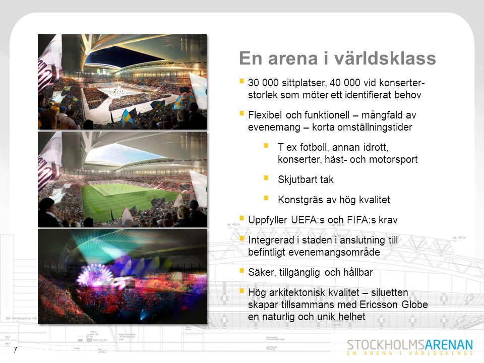 8 Utformning och funktion  Asymmetrisk – unik gestaltning, fokus mot scen  Modern arkitektur med en nordisk design  Omhändertaget, robusta material  Två etage med 15 000 platser vardera  Publikt gångstråk runt arenan  Huvudentré från norr  750 parkeringsplatser under arenan