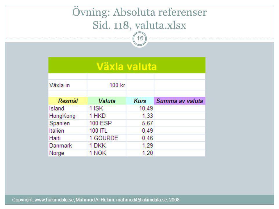 Övning: Absoluta referenser Sid. 118, valuta.xlsx 16 Copyright, www.hakimdata.se, Mahmud Al Hakim, mahmud@hakimdata.se, 2008