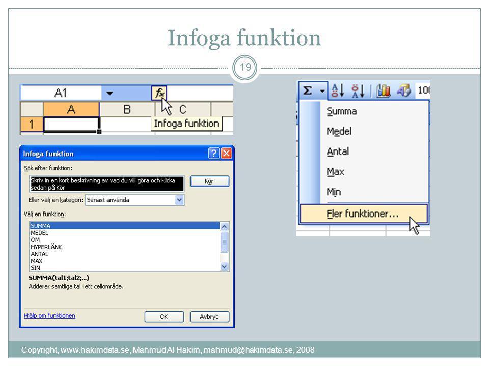 Infoga funktion 19 Copyright, www.hakimdata.se, Mahmud Al Hakim, mahmud@hakimdata.se, 2008