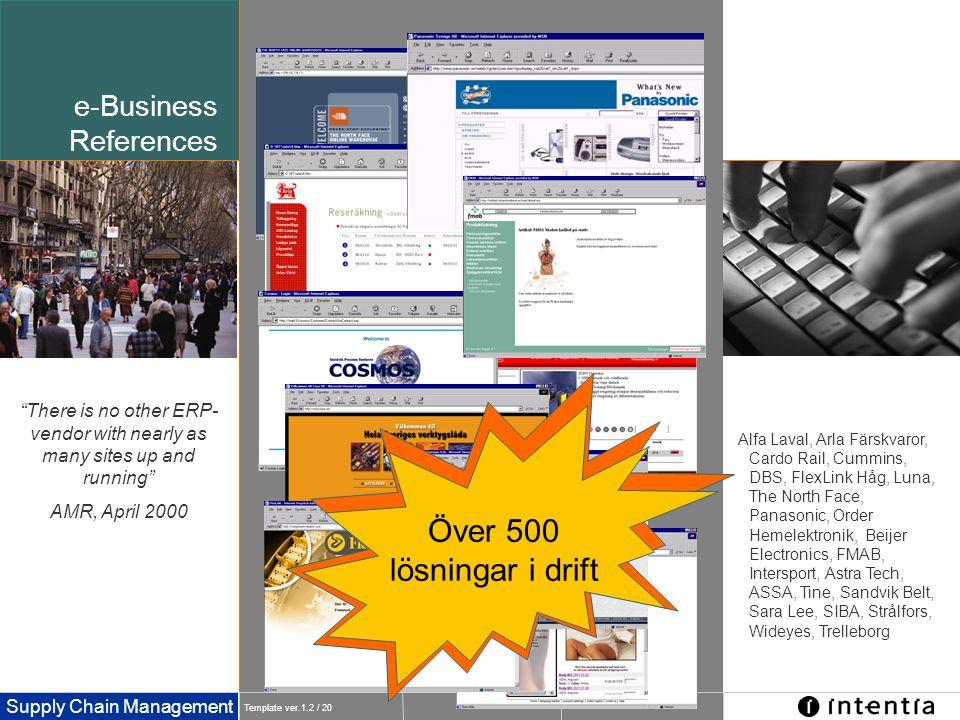 Template ver.1.2 / 20 Supply Chain Management Alfa Laval, Arla Färskvaror, Cardo Rail, Cummins, DBS, FlexLink Håg, Luna, The North Face, Panasonic, Or