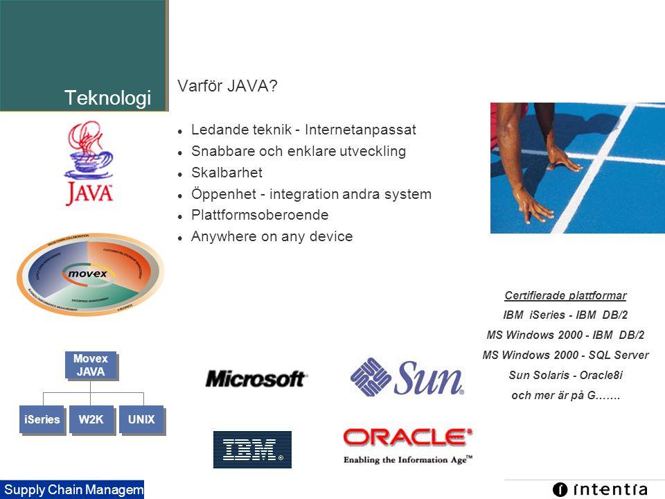 Template ver.1.2 / 21 Supply Chain Management Teknologi Varför JAVA?  Ledande teknik - Internetanpassat  Snabbare och enklare utveckling  Skalbarhe