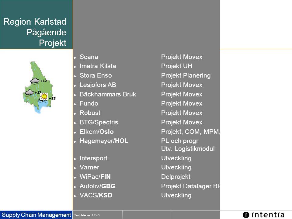 Template ver.1.2 / 9 Supply Chain Management Region Karlstad Pågående Projekt  ScanaProjekt Movex  Imatra KilstaProjekt UH  Stora EnsoProjekt Plane