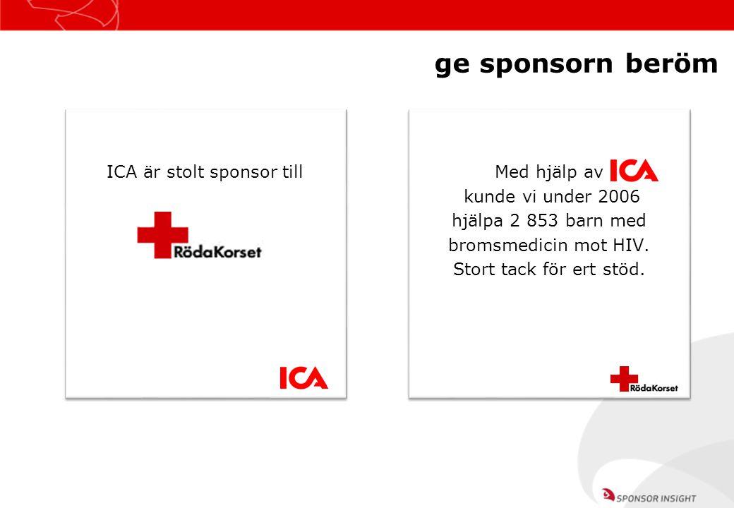 ge sponsorn beröm ICA är stolt sponsor till Med hjälp av kunde vi under 2006 hjälpa 2 853 barn med bromsmedicin mot HIV. Stort tack för ert stöd. Med