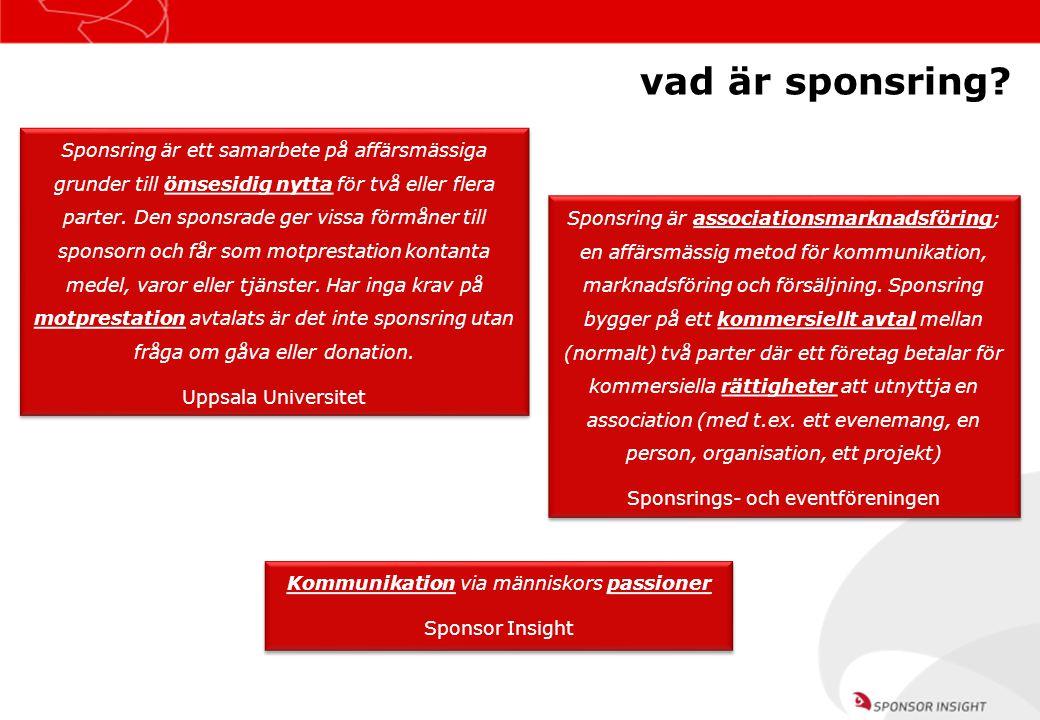 Källa: Sponsor Navigator 2008, Sponsor Insight jag blir mer positiv till företag som sponsrar… 8 av 10 svenskar 7 av 10 svenskar