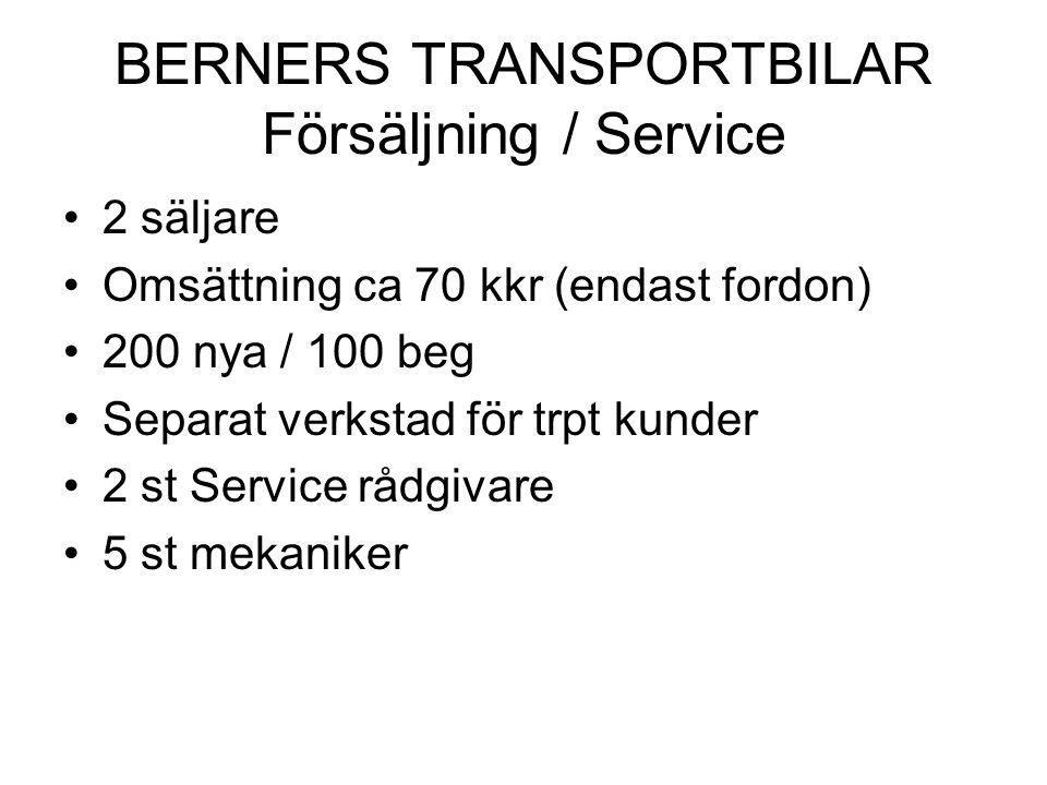 BERNERS TRANSPORTBILAR Försäljning / Service •2 säljare •Omsättning ca 70 kkr (endast fordon) •200 nya / 100 beg •Separat verkstad för trpt kunder •2