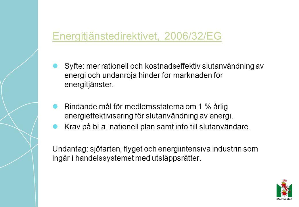 Energitjänstedirektivet, 2006/32/EG  Syfte: mer rationell och kostnadseffektiv slutanvändning av energi och undanröja hinder för marknaden för energi