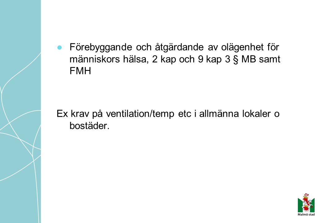 ●Förebyggande och åtgärdande av olägenhet för människors hälsa, 2 kap och 9 kap 3 § MB samt FMH Ex krav på ventilation/temp etc i allmänna lokaler o b