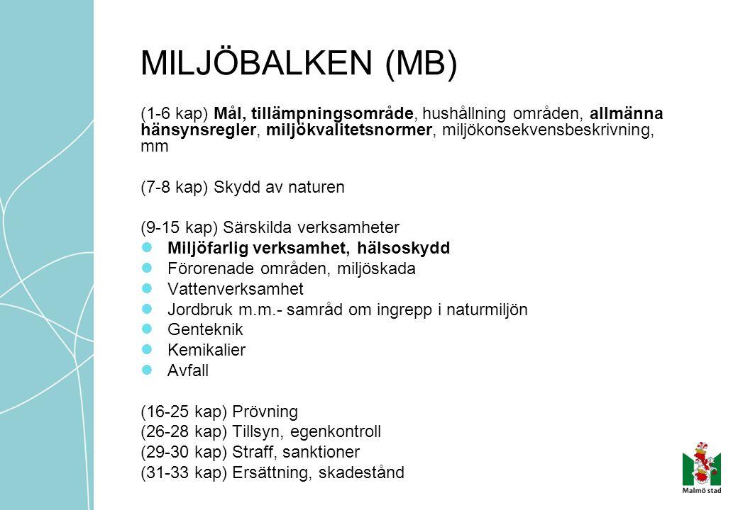 MILJÖBALKEN (MB) (1-6 kap) Mål, tillämpningsområde, hushållning områden, allmänna hänsynsregler, miljökvalitetsnormer, miljökonsekvensbeskrivning, mm