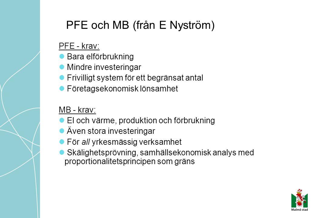 PFE och MB (från E Nyström) PFE - krav:  Bara elförbrukning  Mindre investeringar  Frivilligt system för ett begränsat antal  Företagsekonomisk lö