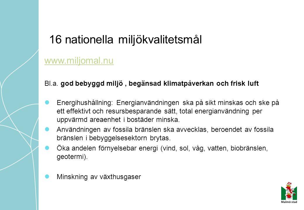 16 nationella miljökvalitetsmål www.miljomal.nu Bl.a. god bebyggd miljö, begänsad klimatpåverkan och frisk luft  Energihushållning: Energianvändninge